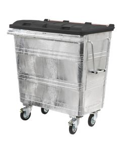 660 Litre Metal Wheelie Bin with Choice of Flat or Recycling Lid