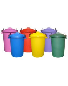 85 Litre Clip On Lid Dustbins Available in Black, Green, Blue, Red, Yellow, Lilac and Pink