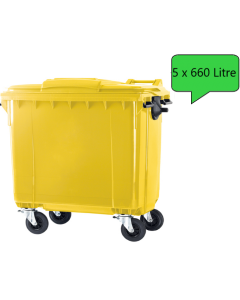 5 x 660 Litre Wheelie Bins in any Colour (Pallet Quantity)